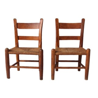 20th Century Country Rush Seat Children's Chairs - a Pair For Sale