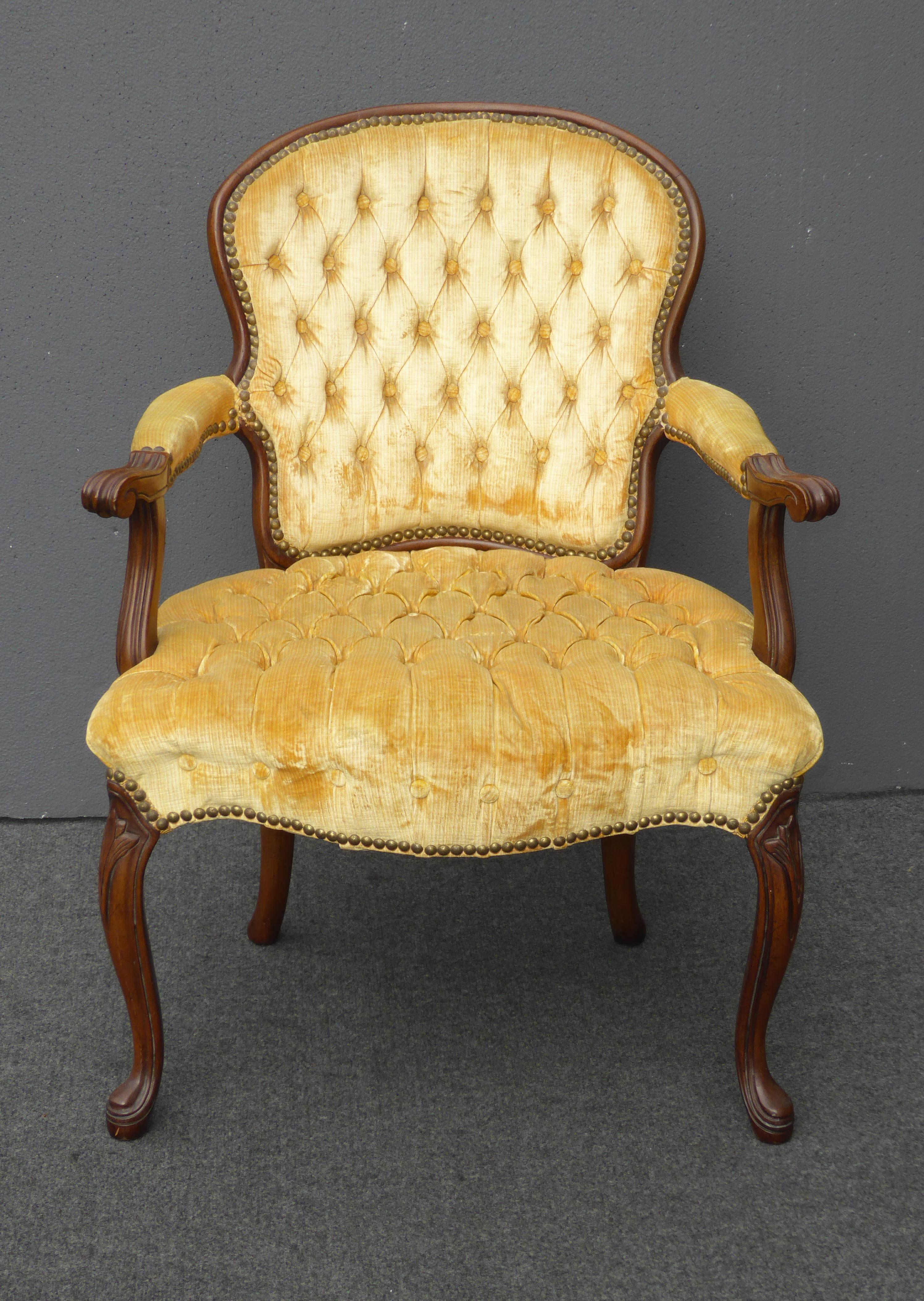Vintage French Provincial Tufted Gold Velvet Accent Chair   Image 2 Of 11
