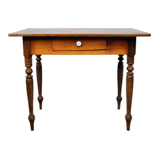 Small Vintage French Oak Farmhouse Dining Table W/ Drawer For Sale