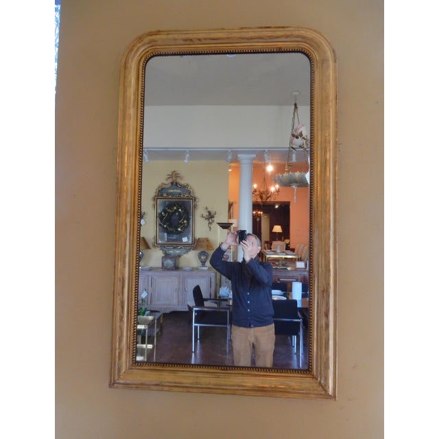 Wood 19th Century Louis Philippe Gold Gilt Mirror For Sale - Image 7 of 7