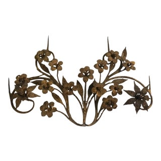 Antique Iron Floral Architectural Wall Sculpture For Sale