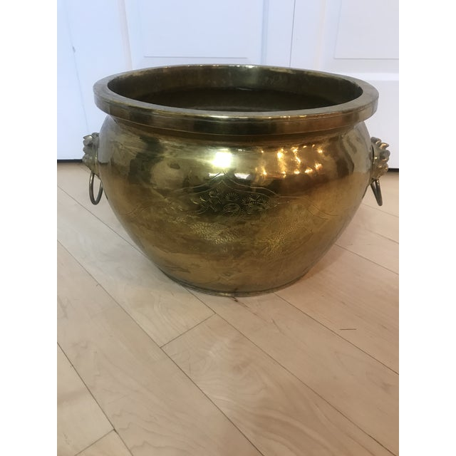 Traditional Textured Brass Planter With Foo Foo Dogs For Sale - Image 3 of 6