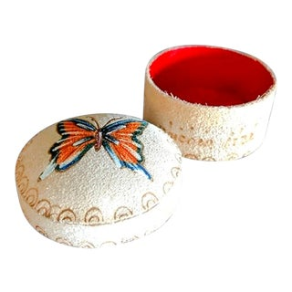 Vintage Hand Painted Butterfly Leather Round Box With Lid For Sale