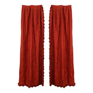 Deep Rose Silk Damask Drapes - a Pair For Sale