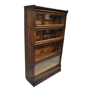 Globe Wernicke Quarter Sawn Tiger Oak 4 Section Stack Barrister Lawyers Bookcase For Sale