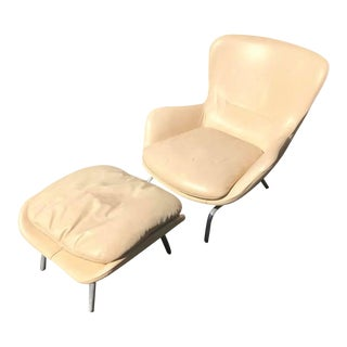 Contemporary Roche Bobois White Leather Chair and Ottoman - Set of 2