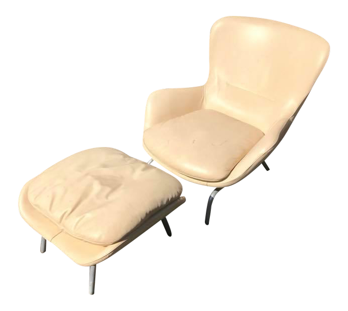 Contemporary Roche Bobois White Leather Chair And Ottoman   Set Of 2