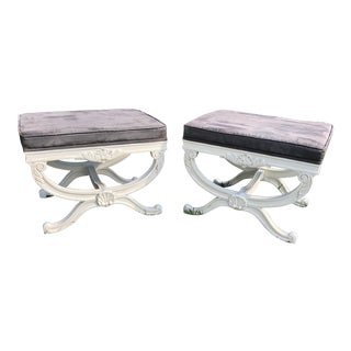 Restored Vintage Classical Curule X Stools- A Pair For Sale