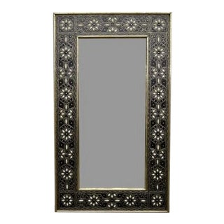 Moroccan Metal Bone Inlay Mirror - White For Sale