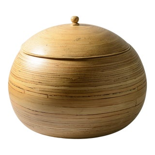 Mid-Century Reed Bamboo Bulbous Lidded Box, Italy For Sale
