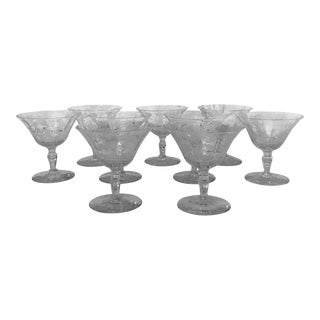 Fostoria Crystal Etched Coups - Set of 9 For Sale