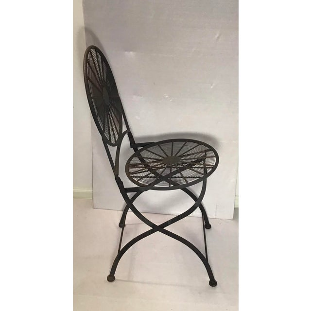 Metal 1960s Vintage Wrought Iron Pinwheel Bistro Style Folding Chair- Set of 4 For Sale - Image 7 of 13