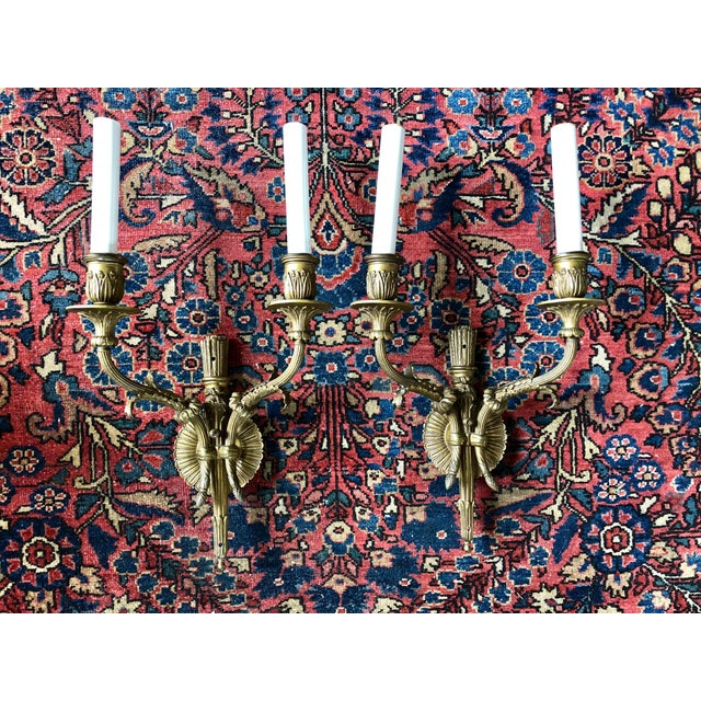 Neoclassical Brass Two Light Wall Sconces- a Pair For Sale In Buffalo - Image 6 of 6