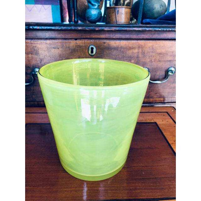 Glass Art Glass Ice Bucket in Citron For Sale - Image 7 of 11