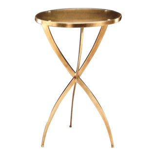 Two French Modern Neoclassical Style Round Solid Brass Side Tables
