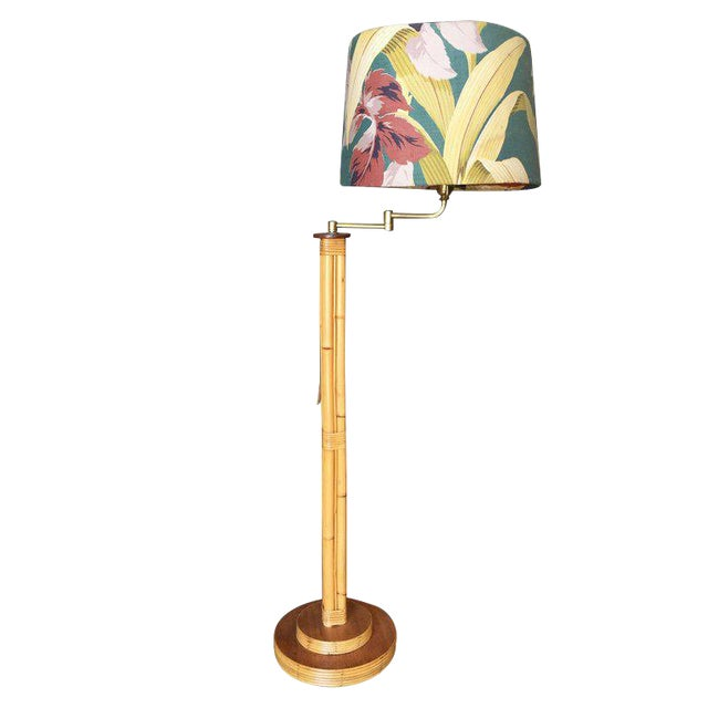 Restored Mid-Century Rattan Pole Reading Floor Lamp With Tropical Lamp Shade For Sale