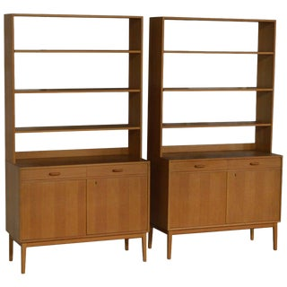 Rare Pair of Swedish Mid-Century Modern Storage Bookcases For Sale