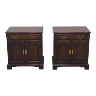 Late 20th Century Henkel Harris Solid Mahogany Chippendale Nightstands Bedside Tables - a Pair For Sale