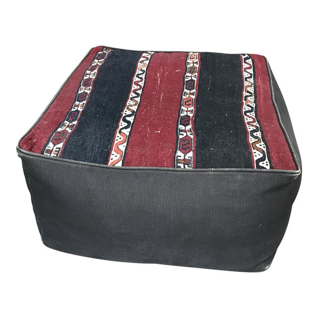 Bohemian Canvas Pouf Ottoman - Image 1 of 4