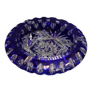 Bohemian Crystal Blue Cut to Clear Ashtray Bowl For Sale