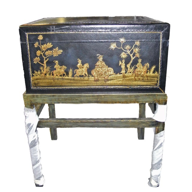 Sarreid Ltd. 1990s Chinoiserie Chairside Box Side Table For Sale - Image 4 of 9