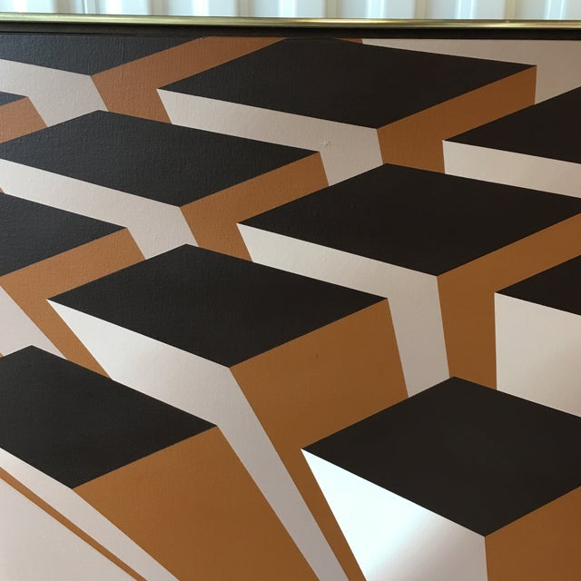 Vintage Artist Signed Geometric Op Art Acrylic on Canvas Monumental Wall Art- 5' X 5' For Sale - Image 9 of 13