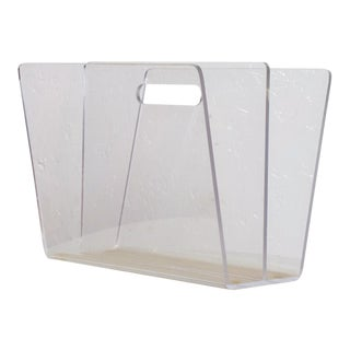 Mid Century Modern Lucite Magazine Rack, After Charles Hollis Jones For Sale