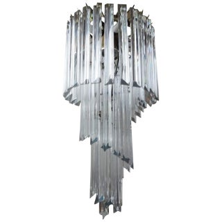 1960s Art Deco Venini Inspired Clear Murano Glass Prism Spiral Chandelier For Sale