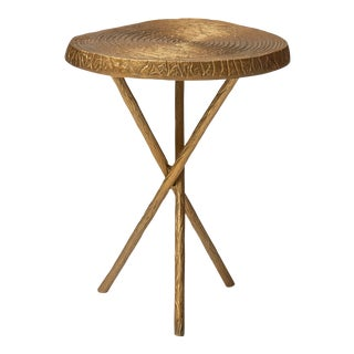 Carla End Table, Antique Brass For Sale