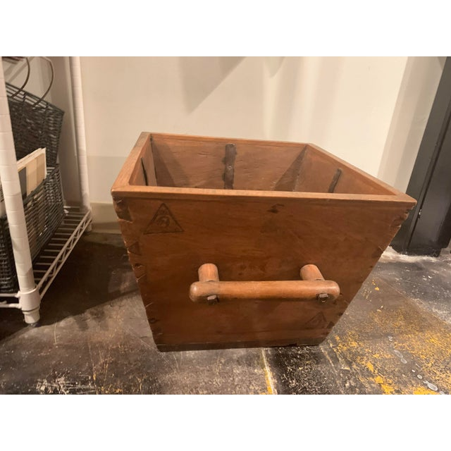 Farmhouse Antique Wooden Box With Handles For Sale - Image 3 of 13
