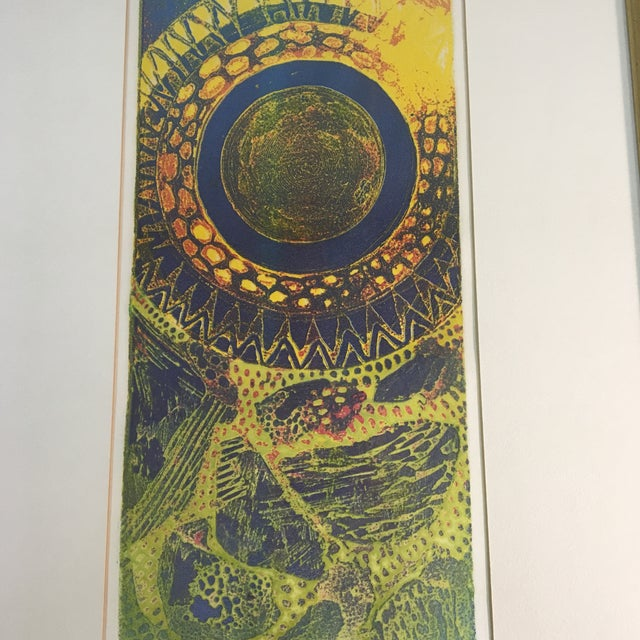 """Abstract 1970s """"Aureolo"""" Etching by Lucile H. Sanders, Framed For Sale - Image 3 of 7"""