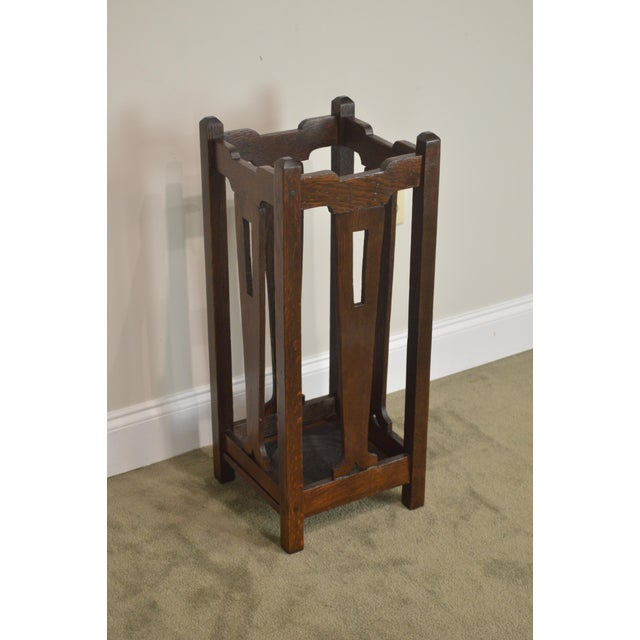 Mission Oak Arts & Crafts Antique Umbrella Cane Stand For Sale - Image 4 of 13