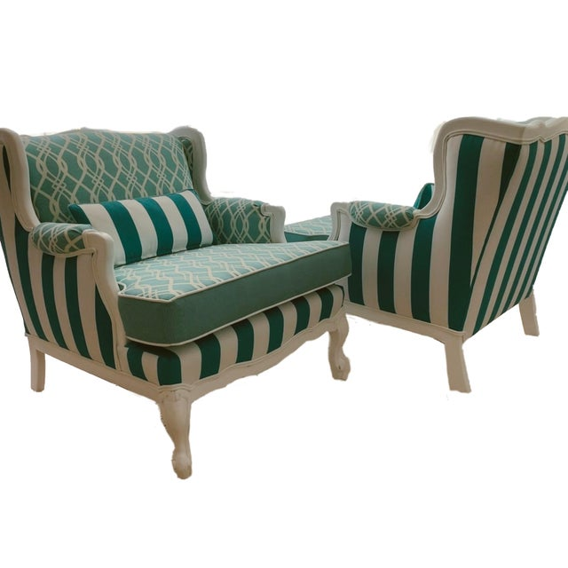 This listing is for (1) pair of vintage Hollywood Regency lounge chairs refinished in a glossy white and reupholstered...