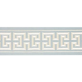 Sample, Scalamandre Imperial Embroidered Tape, Sky Fabric For Sale