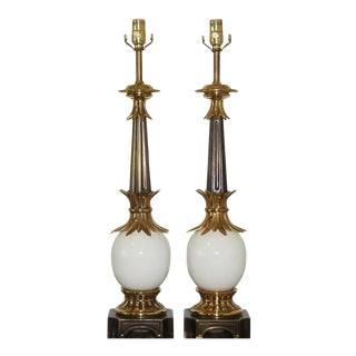 Stiffel Vintage Ostrich Egg Table Lamps White For Sale