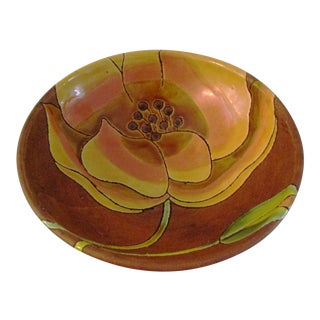 Earthenware Floral Pottery Bowl For Sale