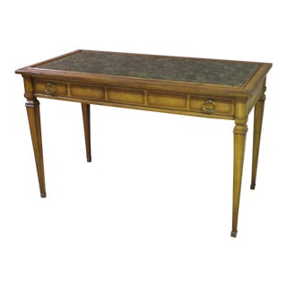 Vintage Mid-Century Faux Leather Top Writing Desk For Sale