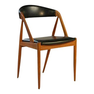 Kai Kristiansen Refinished Teak and Black Leatherette Dining Chair For Sale
