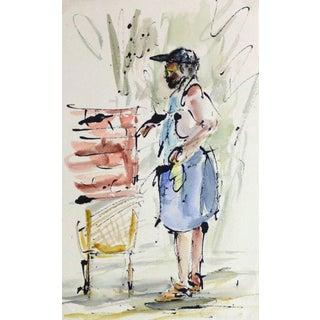 Watercolor & Ink Portrait - the Gardner For Sale