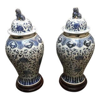 Pair of Large Chinese Blue and White Baluster Covered Jars