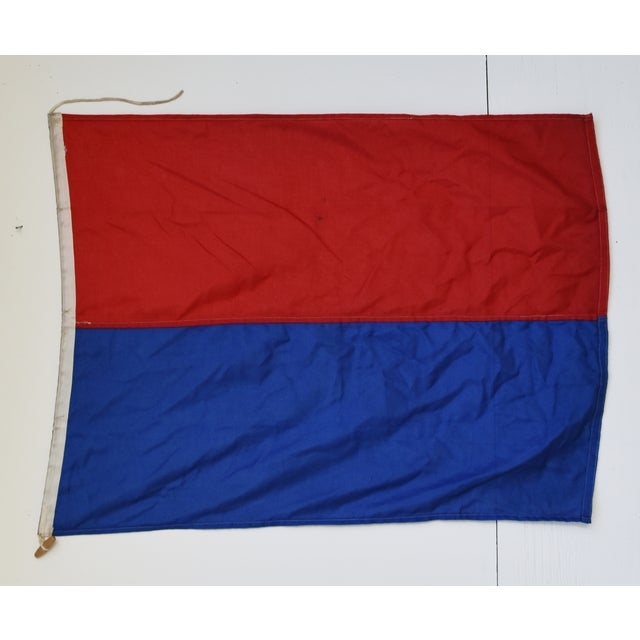"""Vintage maritime nautical naval signal """"E Echo"""" code flag. This flag is the international maritime code/meaning for """"I'am..."""