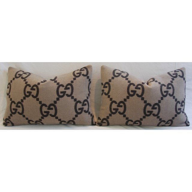 """Abstract 23"""" X 16"""" Custom Tailored Gucci Cashmere & Velvet Feather/Down Pillows - Pair For Sale - Image 3 of 11"""