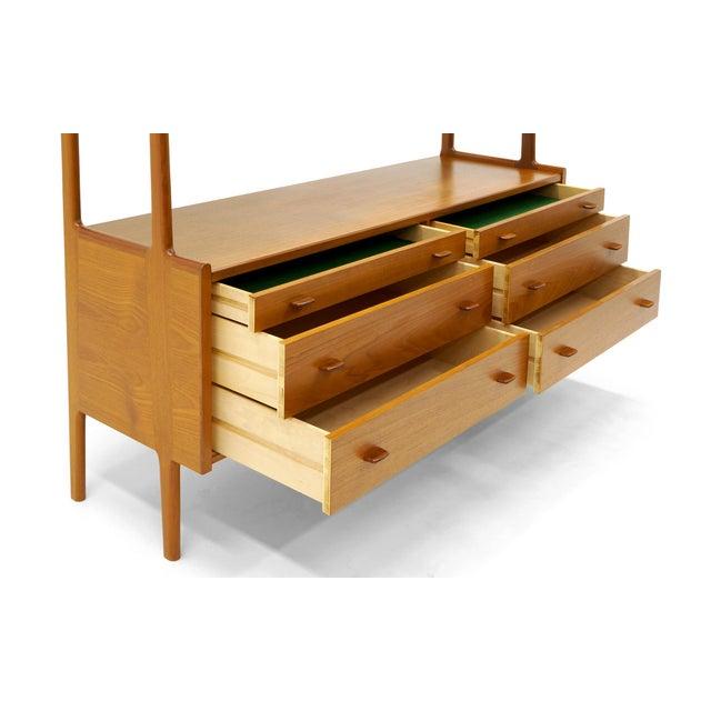 Hans Wegner Hans Wegner Wall Unit, Room Divider or Sideboard, Rare Teak and Cane Version For Sale - Image 4 of 10