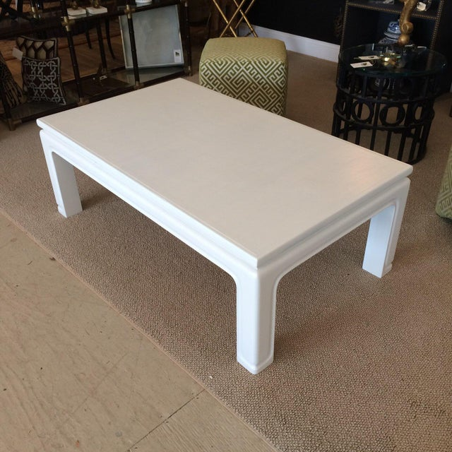 Mid-Century Modern Karl Springer Style Linen Wrapped Coffee Table For Sale - Image 3 of 5