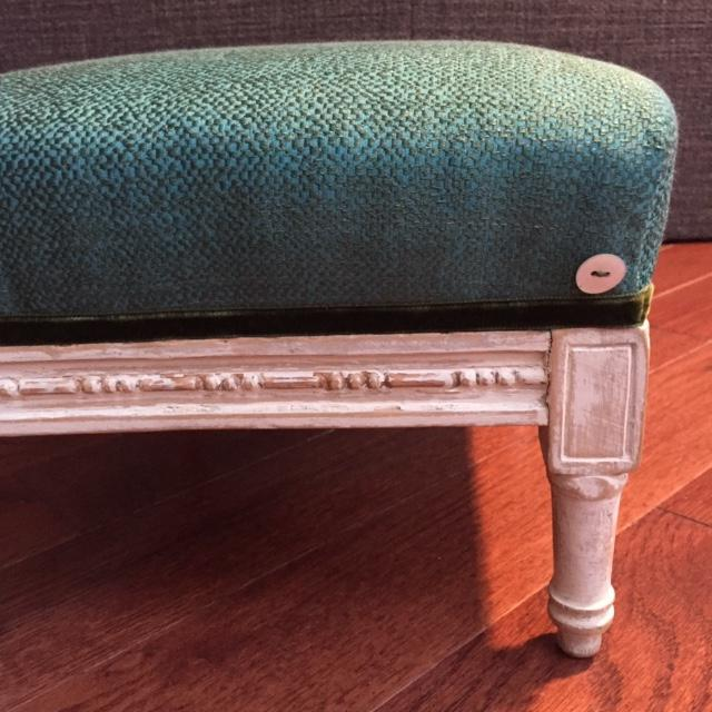 19th Century Antique French Emerald and White Patina Footstool For Sale In New York - Image 6 of 12