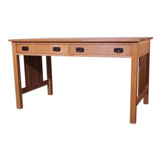 "Stickley Mission Collection Oak 54"" Spindle Library Desk (B) For Sale"