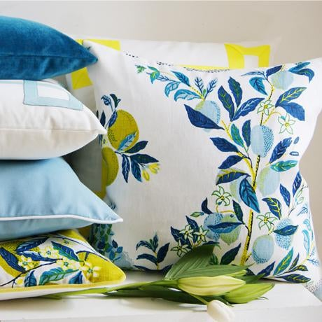 """Citrus Garden"" Schumacher Josef Frank Blue & White Pillow Cover - Image 5 of 6"