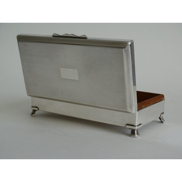 Metal Art Deco English Silver Plate Table Box For Sale - Image 7 of 9