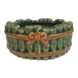 Vintage Faux Bamboo Green Ceramic Ashtray For Sale