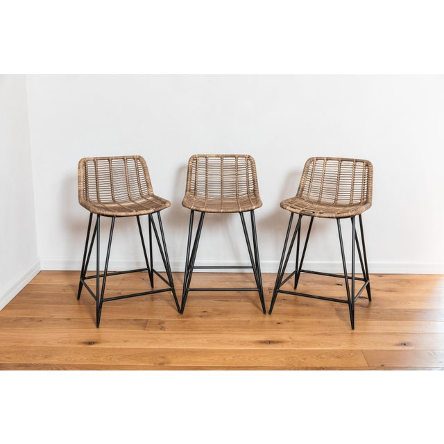 Asher and Rye Woven Natural Fiber Outdoor Barstools - Set of 3 For Sale - Image 9 of 9